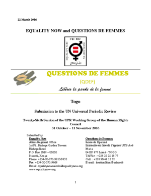 Submission for the Universal Periodic Review of Togo - Sex Discrimination in the Nationality Law